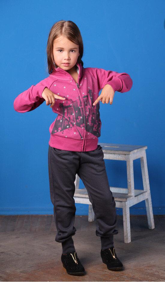 Дитячий спортивний костюм для дівчинки MEK Італія 163MIEP002 Сірий, рожевий весняний осінній демісезонний