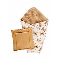 Набор Dotinem плед 75х85 см + подушка плюшевая детская Minky 35х35 см Капучино