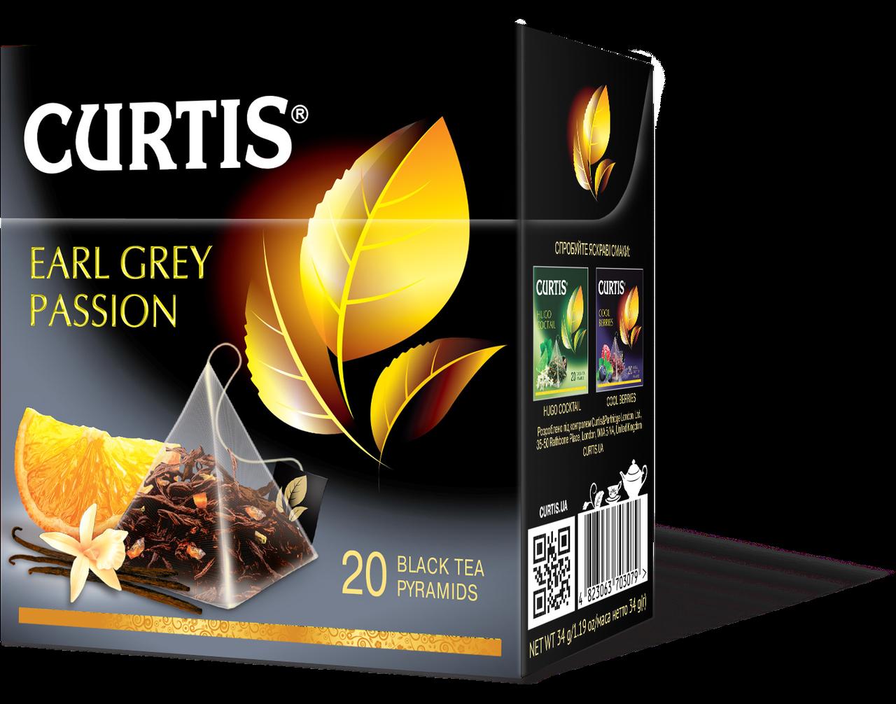 Чай черный в пирамидках с бергамотом нотками ванили и цитруса Curtis Earl Grey Passion (Кертис), 20 пирамидок