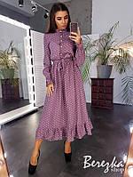 Платье женское красивое в горошек с пуговицами поясом и оборкой миди Sms3706