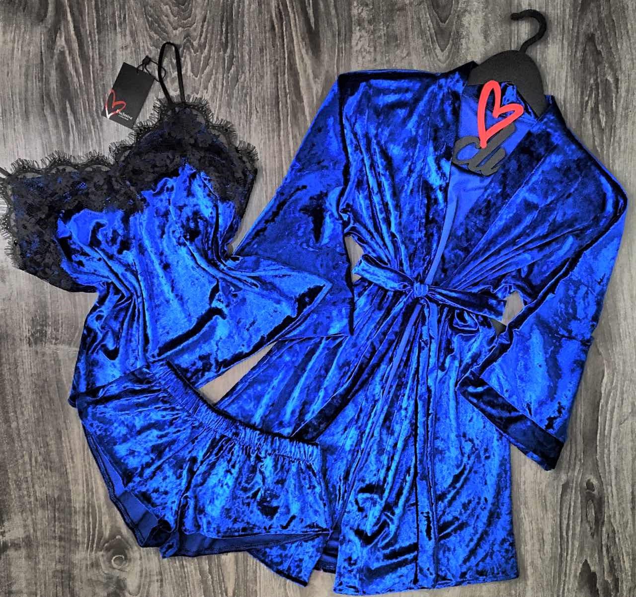 Велюровая домашняя одежда женская , халат+пижама.