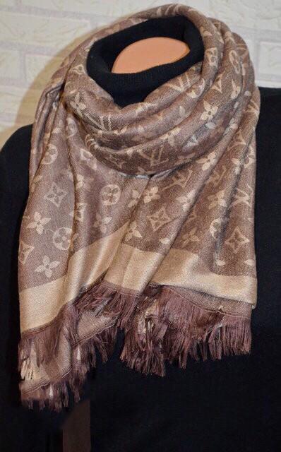 Женский платок Louis Vuitton Monogram (в стиле Луи Витон) коричневый