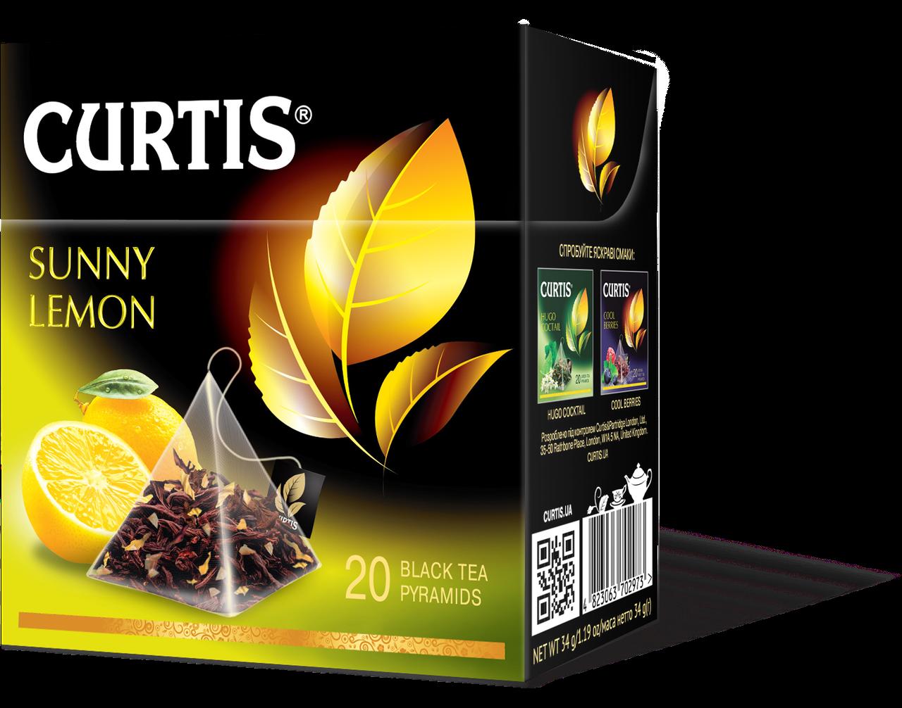Чай черный в пирамидках со вкусом лимона Curtis Sunny Lemon (Кертис), 20 пирамидок