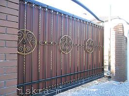 Кованые откатные ворота. Кованая калитка (г. Киев) 1