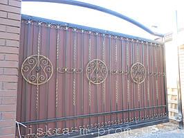 Кованые откатные ворота. Кованая калитка (г. Киев) 2
