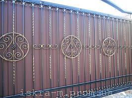 Кованые откатные ворота. Кованая калитка (г. Киев) 3