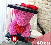 Мишка из роз Teddy Rose розовый с красным сердцем (40см) в коробке подарок