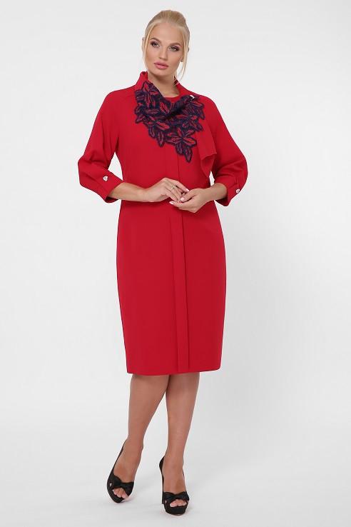 Платье в деловом стиле Элиза бордо (52-58)