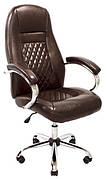 Кресло Флоренция Хром  М1 Кожзам глянец коричневый  (с доставкой)