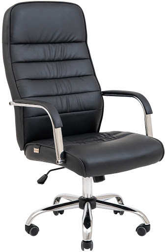 Кресло Лион Хром  М1 кожзам черный