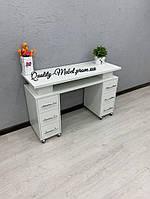 Маникюрный двухтумбовый белый стол для маникюра