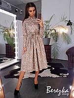Платье женское модное цветочный принт с пуговицами поясом и юбкой миди Sms3709
