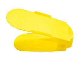 🔝 Двойная пластиковая стойка-подставка для хранения обуви - желтая   🎁%🚚