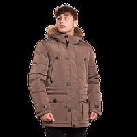Мужской пуховик зимний Finn Flare A 16-21003 с мехом каштановый