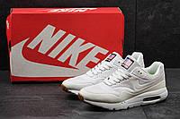 Мужские рефлективные кроссовки Nike Air Max 1 Ultra Moire, найки из пресс кожи (белые), ТОП-реплика