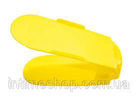 🔝 Двойная пластиковая стойка-подставка для хранения обуви - желтая | 🎁%🚚