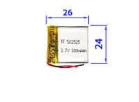Аккумулятор для видеорегистратора (батарея) 300 мАч 3,7в, сигнализации, наушников, Bluetooth (300mAh) 502525