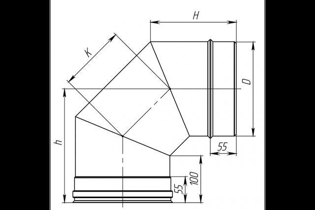 Схема дымоходного колена под 90 градусов