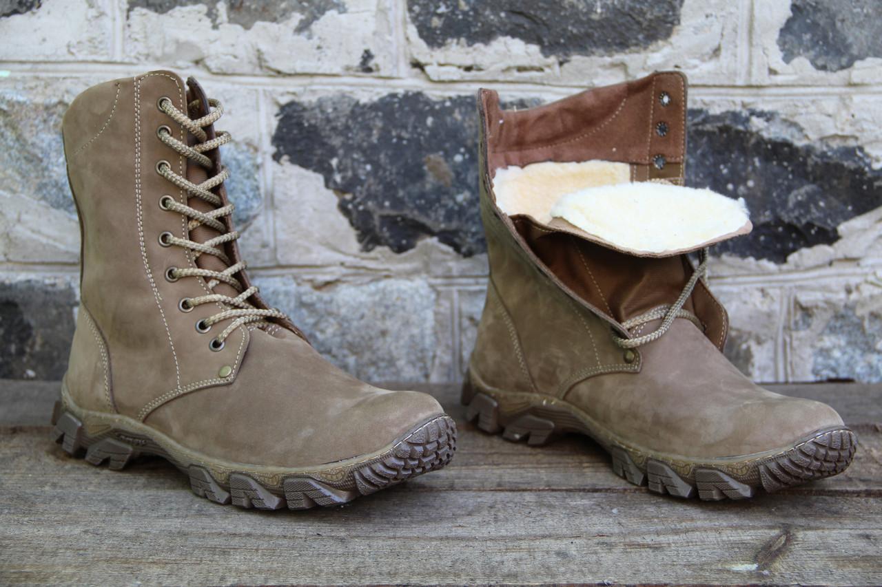 Берцы ботинки зимние из натуральной кожи и меха 00031