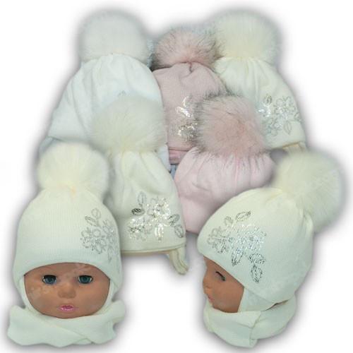 Детский комплект - шапка и шарф (хомут) для девочки, р. 36-38