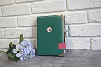 Большая кожаная  записная книга дневник блокнот для девушки с винтажными листами