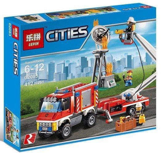 """Конструктор Lepin 02083 """"Пожарный грузовик"""" 412 деталей. Аналог LEGO City 60111"""
