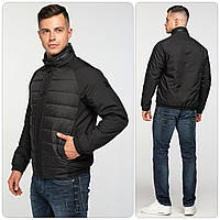Стильная мужская демисезонная куртка - бомбер со скрытым капюшоном, чёрная, размер 46, фото 1