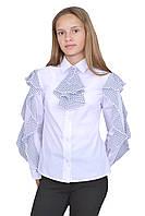 Блузка для девочек белая с длинным рукавом  м 1129  рост 122 128 134 140 146 152 158 164 и 170, фото 1