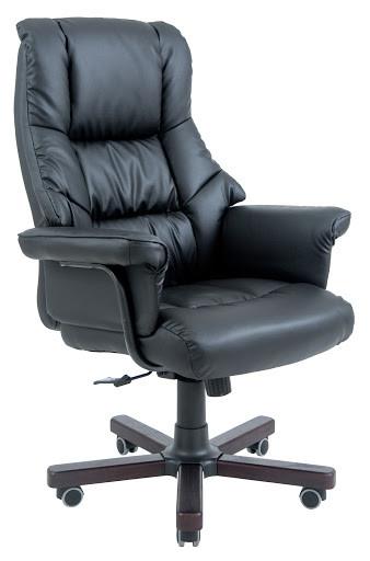 Кресло Конгрес Вуд М2 (кожа-комби) черный, коричневый