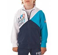 Бомбер, Спортивная кофта для мальчика, сине-голубой-белый  BRUMS, Италия