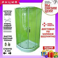 Полукруглая душевая кабина 80х80 см Veronis KN-3-80 профиль хром стекло прозрачное