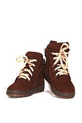 Ботинки зимние для девочек коричневые нубуковые (011638)
