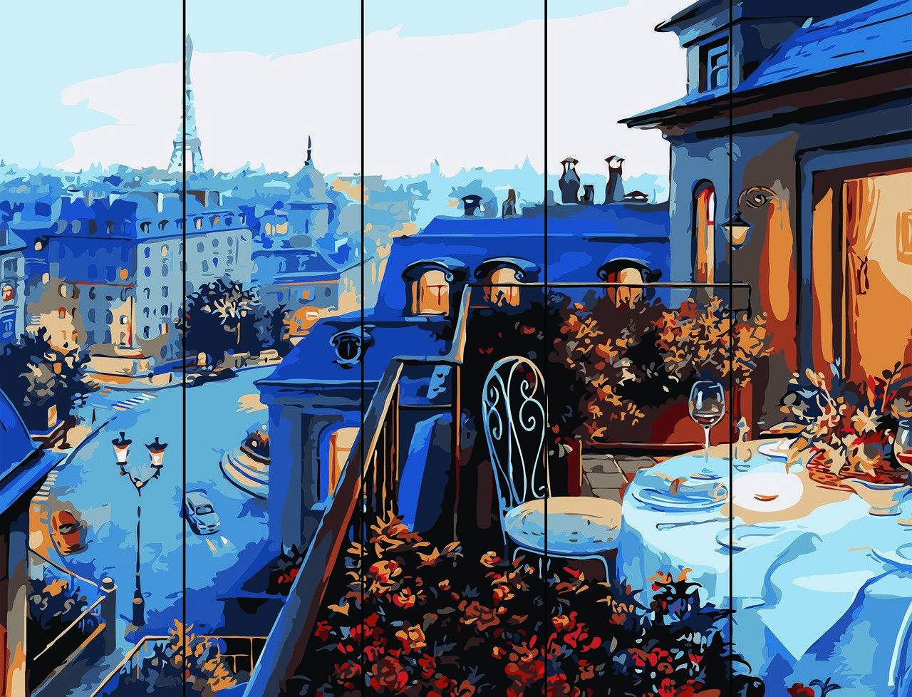 Картина по номерам по дереву Парижский балкон Rainbow Art RA-W478 40 х 50 см