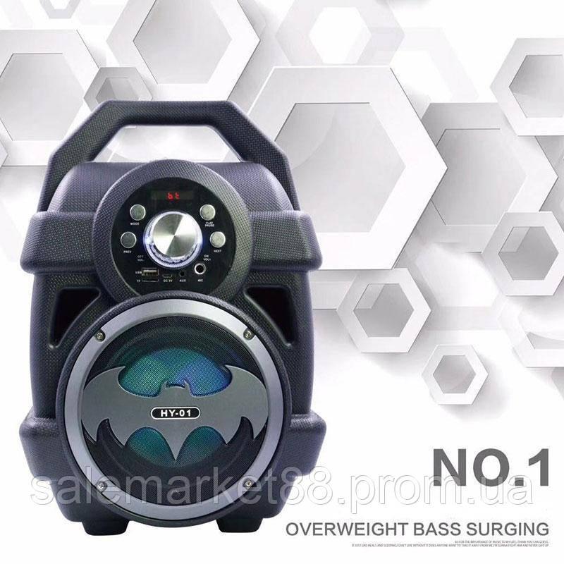 """Акустическая система бумбокс портативная колонка  Bluetooth Speaker HY-01 """"Бэтмен"""" Fm-радио"""