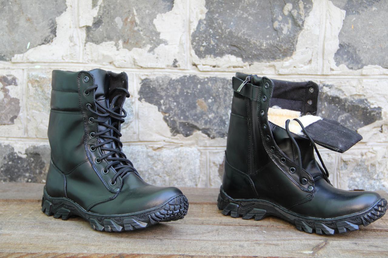Ботинки берцы зимние из натуральной кожи и меха черная кожа Энерджи на молнии