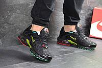 Кроссовки мужские Nike Air Max Tn найки весенние из плотной сетки (черные с желтым), ТОП-реплика