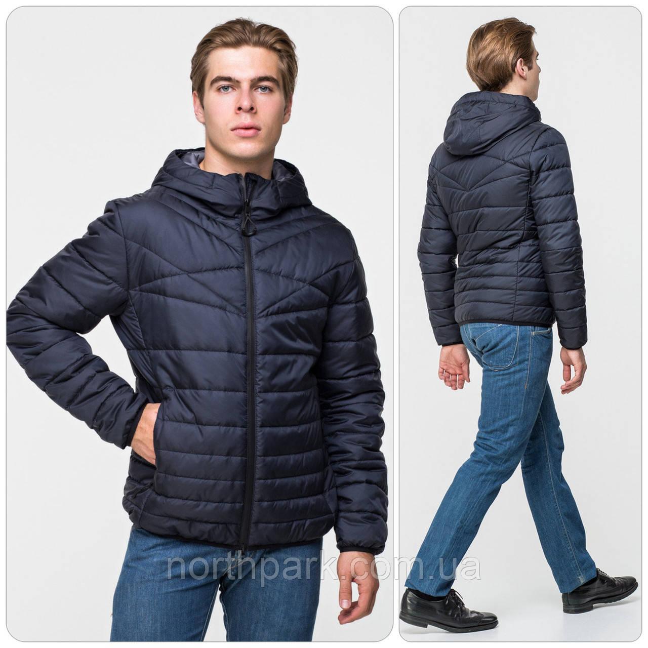 Стильная мужская демисезонная куртка с капюшоном, темно-синяя