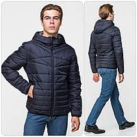 Стильная мужская демисезонная куртка с капюшоном, темно-синяя, фото 1