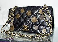 Женская сумка клатч Chanel Boy (Шанель Бой) 92674 черная с бронзовой фурнитурой (монетки, медальоны)