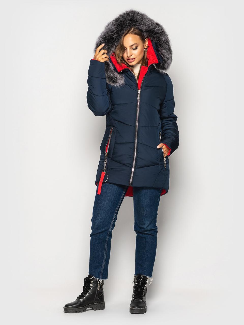 Теплая зимняя куртка Инесса синий(44-54)