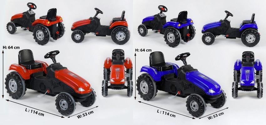 Детский педальный трактор, клаксон на руле, сидение регулируемое, колеса с резиновыми накладками