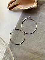 Круглые серьги кольца из нержавеющей стали серебряного цвета