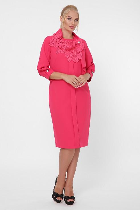 Платье в деловом стиле Элиза коралл (52-58)