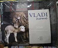 """Плед шерстяной Vladi двойной 170*210 """"Эльф""""Серая клетка"""
