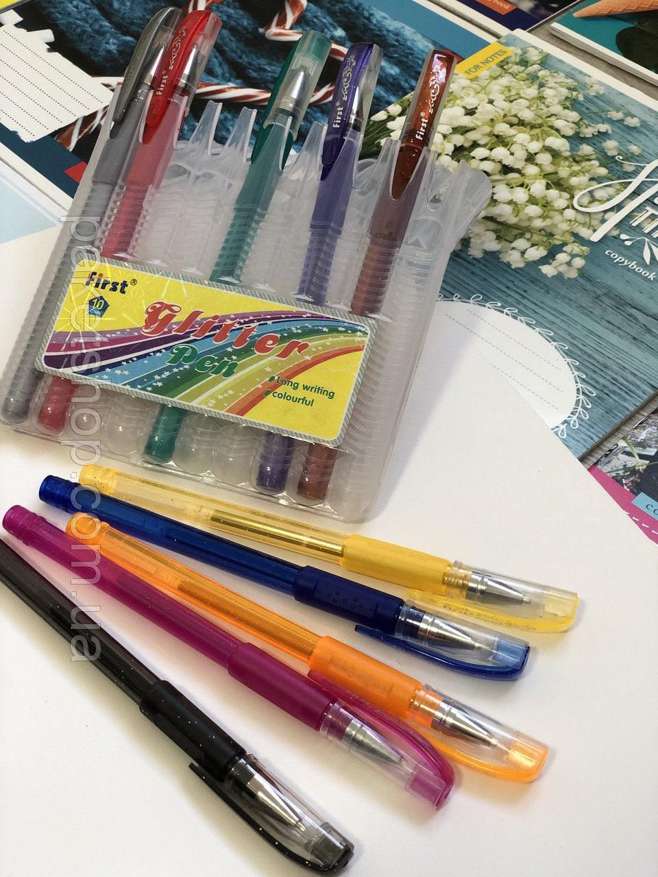 Набор цветных гелевых ручек с блестками First, 10 шт