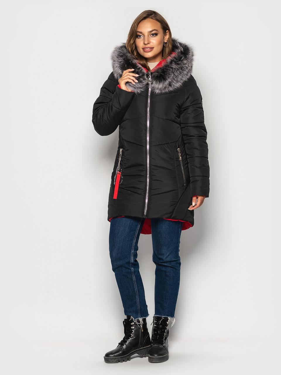 Теплая зимняя куртка Инесса черный (44-54)