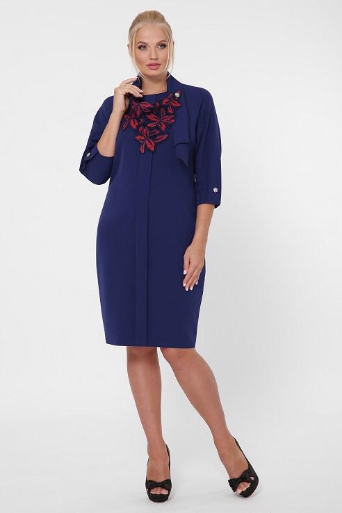 Платье в деловом стиле Элиза синее (52-58)
