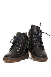 Ботинки зимние для девочек синие кожаные (011639)