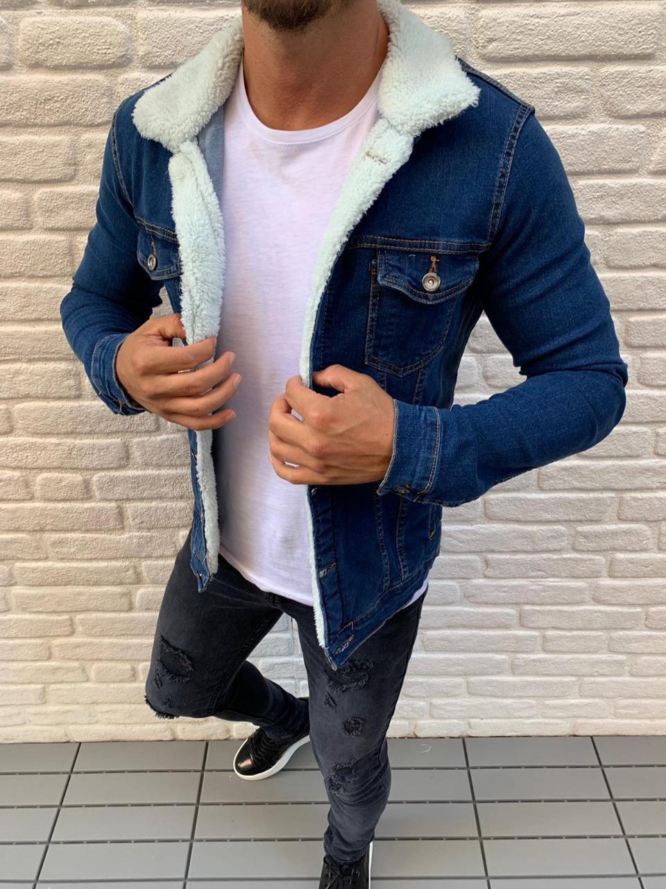Мужская джинсовая куртка с мехом ZARA MAN blue (реплика)
