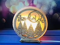 Лампа из цельного куска соли Санта на санях d 17 см, фото 1